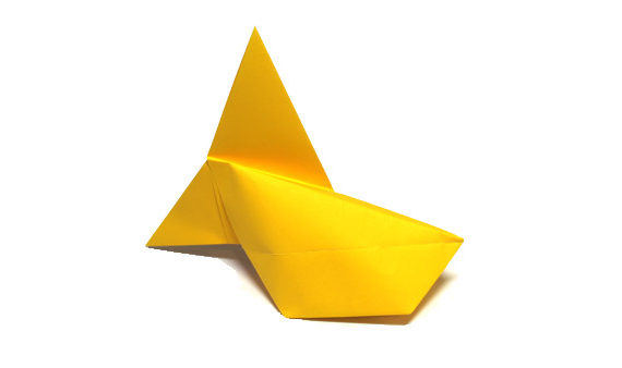 Origami inflatable fish