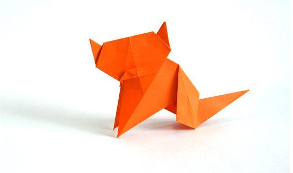 Origami sitting cat